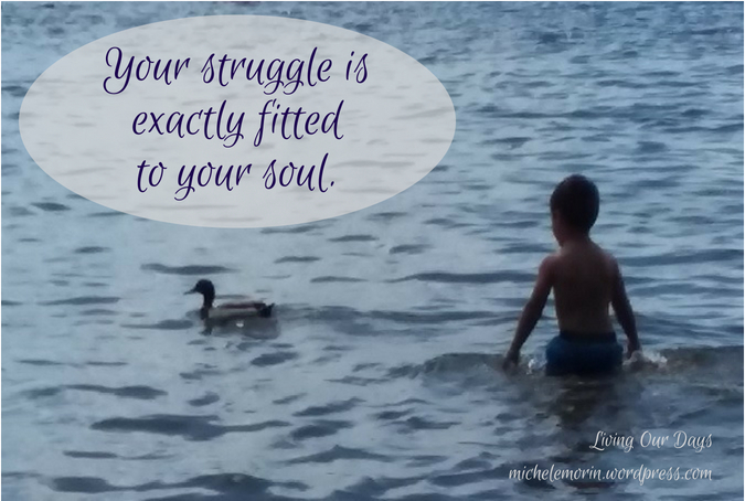 Your struggle is exactly fitted to your soul.