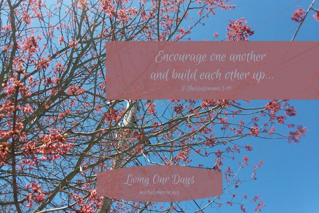 """Therefore encourage one another and build each other up, just as in fact you are doing."""" (I Thessalonians 5:11)"""