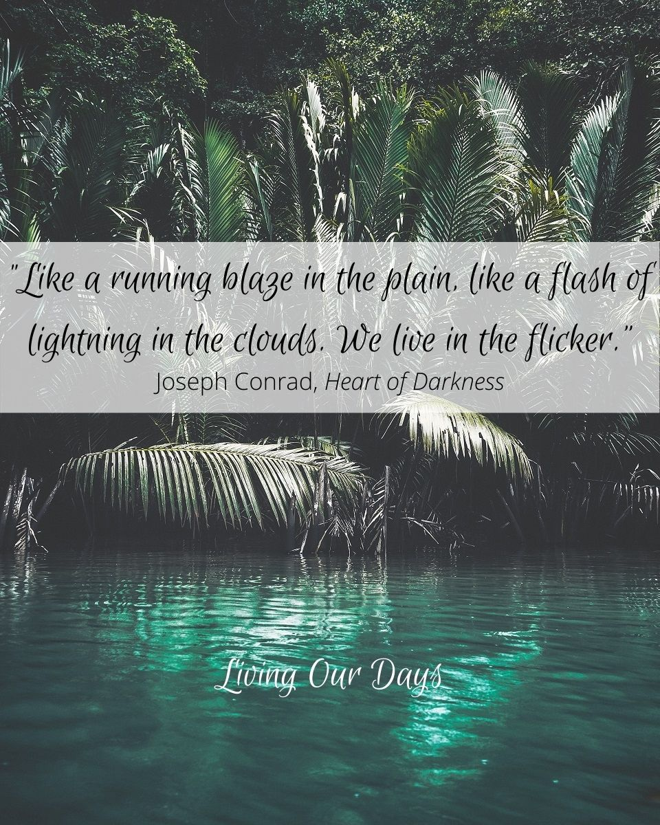 """Like a running blaze in the plain, like a flash of lightening in the clouds. We live in the flicker."" Joseph Conrad"