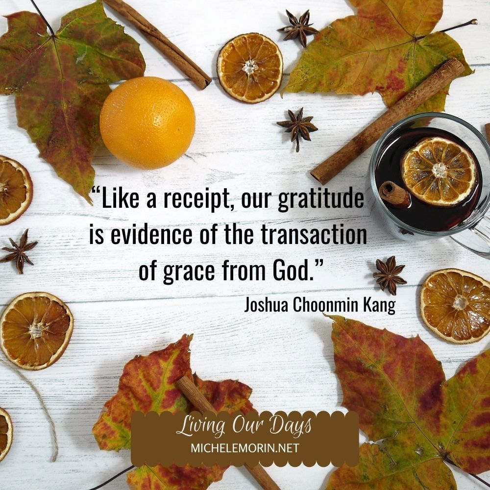 """Like a receipt, our gratitude is evidence of the transaction of grace from God."" Joshua Choonmin Kang"