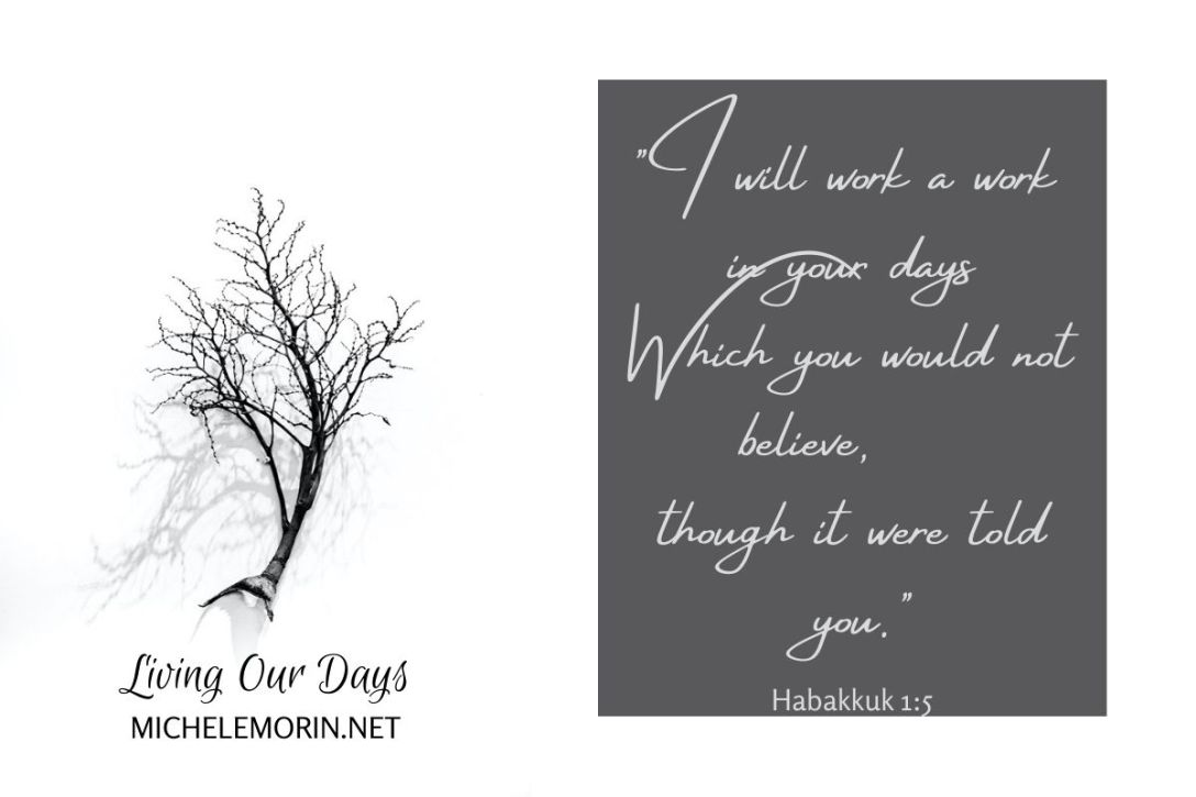 """ I will work a work in your days Which you would not believe, though it were told you."" Habakkuk 1:5"